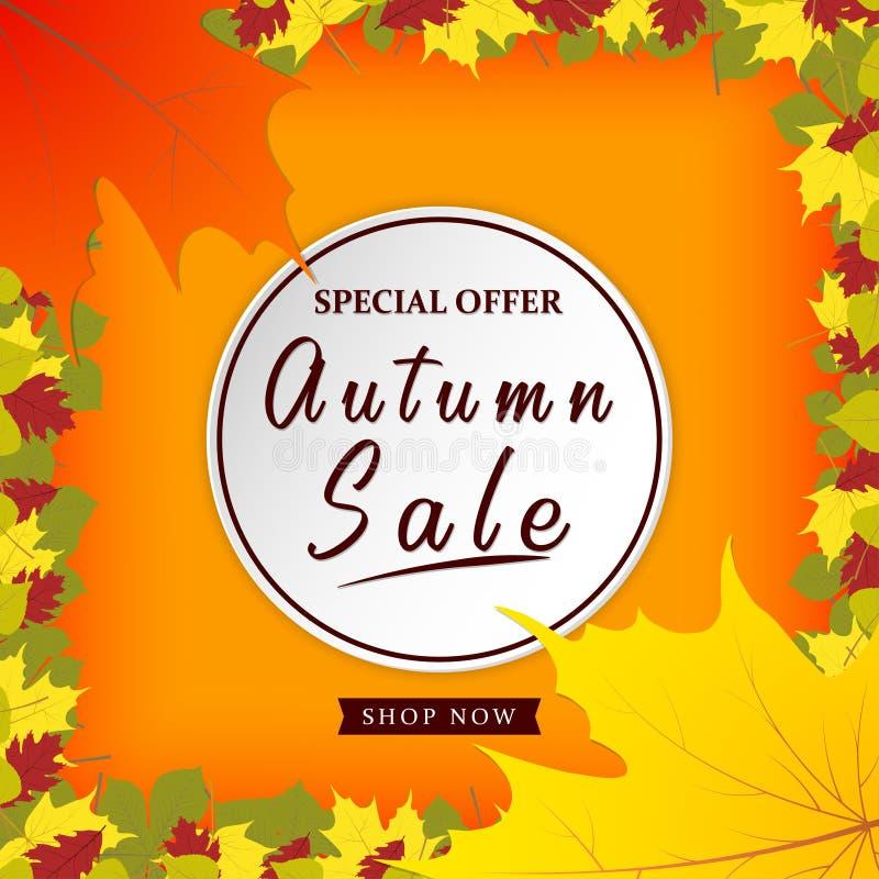 Jesieni sprzedaży wektorowy plakatowy projekt z kolorowymi jesień liśćmi i sprzedaż dyskontowym tekstem dla sezonu jesiennego zak ilustracja wektor