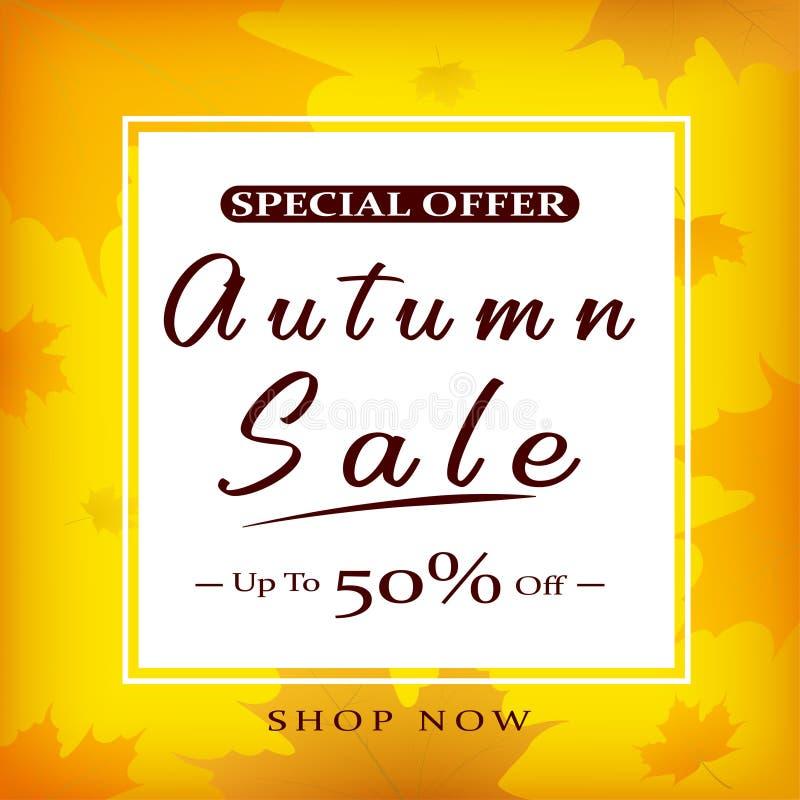 Jesieni sprzedaży wektorowy plakatowy projekt z kolorowymi jesień liśćmi i sprzedaż dyskontowym tekstem dla sezonu jesiennego zak royalty ilustracja