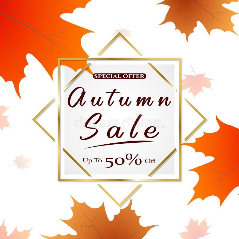 Jesieni sprzedaży wektorowy plakatowy projekt z kolorowymi jesień liśćmi i sprzedaż dyskontowym tekstem dla sezonu jesiennego zak ilustracji