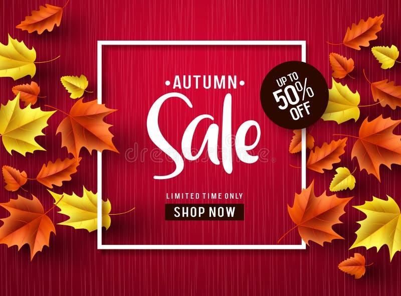 Jesieni sprzedaży wektorowy sztandar w czerwieni Jesieni sprzedaży rabata tekst z kolorowymi liśćmi klonowymi ilustracji