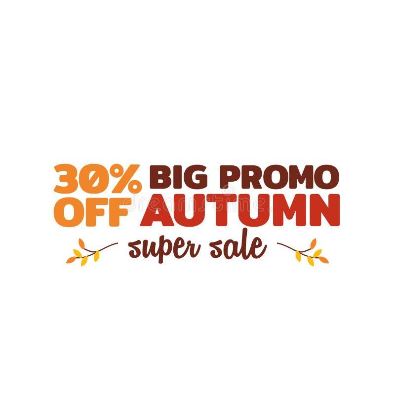 Jesieni sprzedaży wektoru super odznaka prosta typografia z spadku suchym liściem kapuje ilustracyjnego ornament element dla onli ilustracja wektor