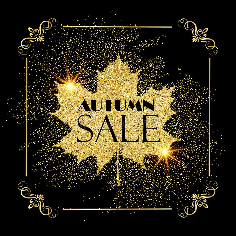 Jesieni sprzedaży złocisty błyszczący tło wektor ilustracja wektor