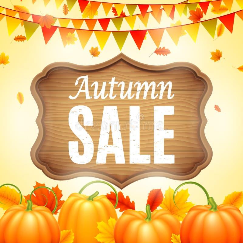 Jesieni sprzedaży zawiadomienie ilustracja wektor