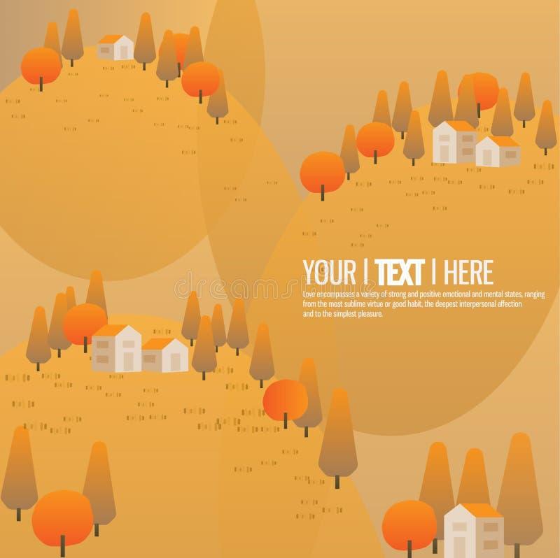 Jesieni tła halni drzewa i mały dom dla boże narodzenie krajobrazu ilustracji