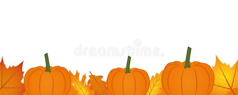 Jesieni tła sztandar z jesieni banią i liśćmi ilustracja wektor