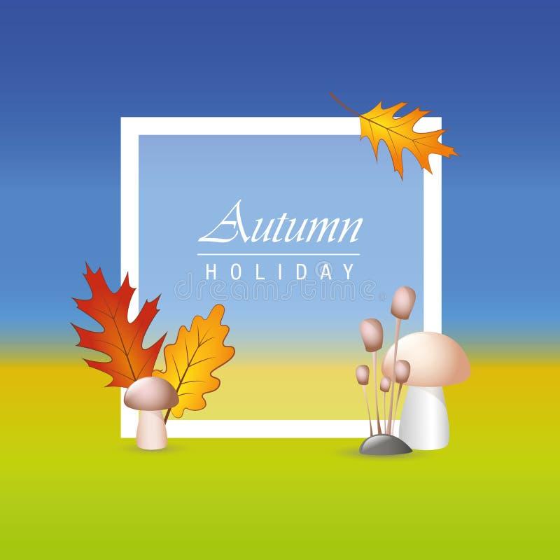 Jesieni tła wakacyjny układ dekoruje z liśćmi i pieczarkami ilustracja wektor