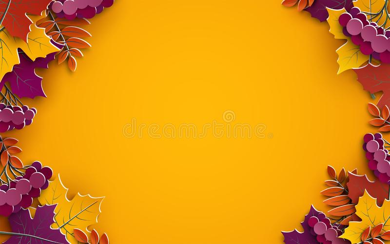 Jesieni tło, drzewo papieru liście, żółty tło, projekt dla sezon jesienny sprzedaży sztandaru, plakat, dziękczynienie dnia kartka ilustracja wektor