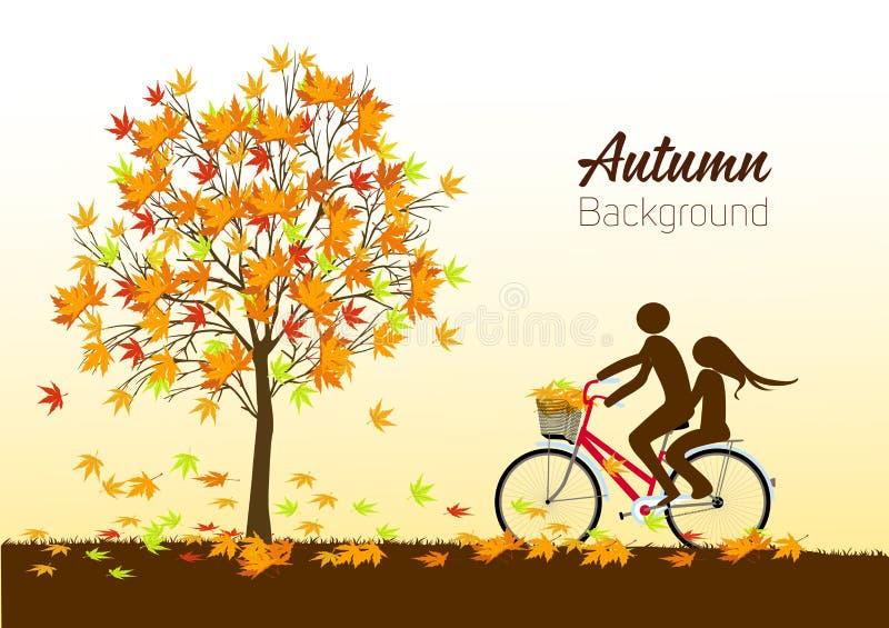 Jesieni tło z drzewem i bicyklem wektor ilustracji