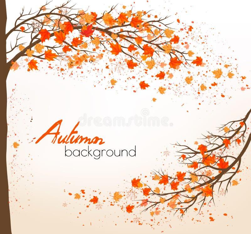 Jesieni tło z kolorowymi liśćmi i drzewem royalty ilustracja
