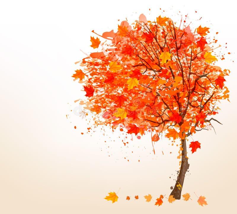 Jesieni tło z kolorowymi liśćmi i drzewem Wektorowy Illust royalty ilustracja