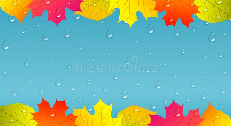 Jesieni tło z kolorowymi liśćmi i raindrops royalty ilustracja
