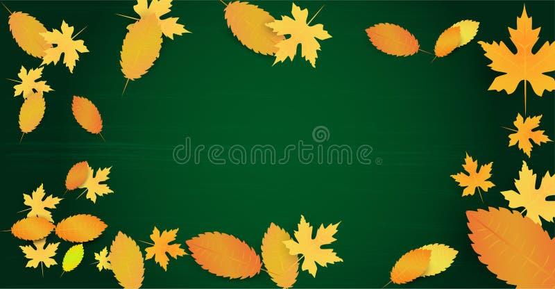 Jesieni tło z liśćmi i opróżnia przestrzeń dla twój teksta Szablon na czarnym deskowym tle Reklamy poj?cie wektor royalty ilustracja