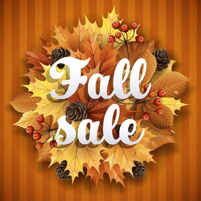 Jesieni tło z liśćmi, jagodami i rożkami, ilustracji