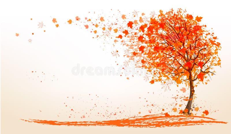 Jesieni tło z złotymi liśćmi i drzewem ilustracja wektor