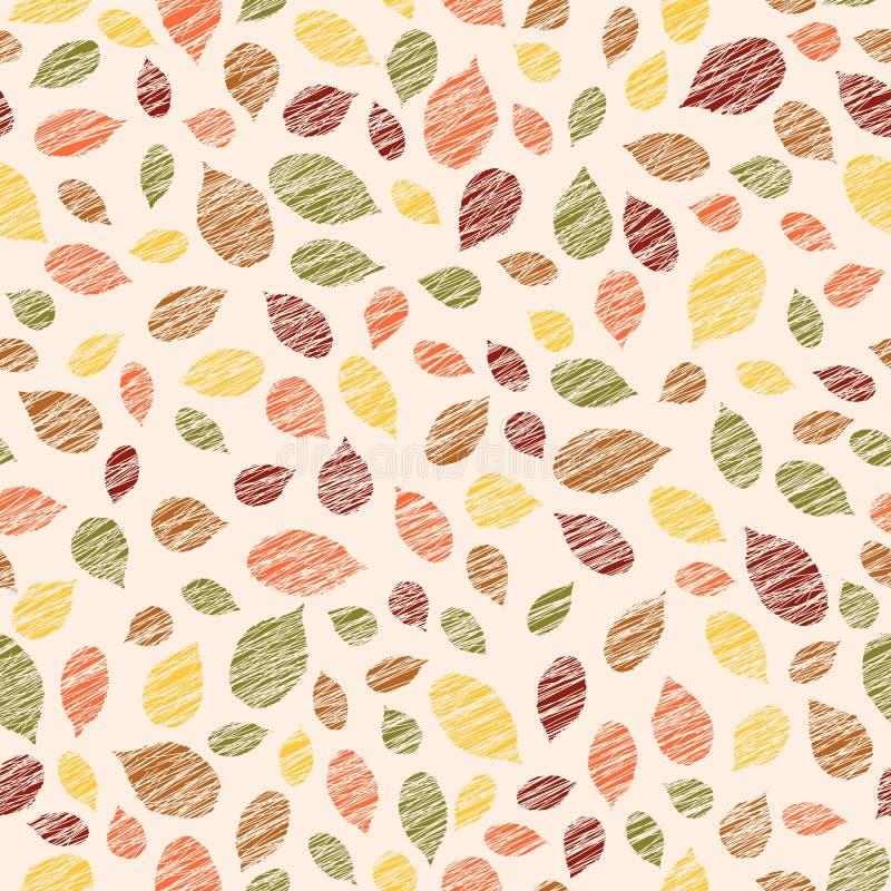 Jesieni tekstura z zeskrobanymi malinowymi liśćmi deseniowy bezszwowy grże ilustracja wektor