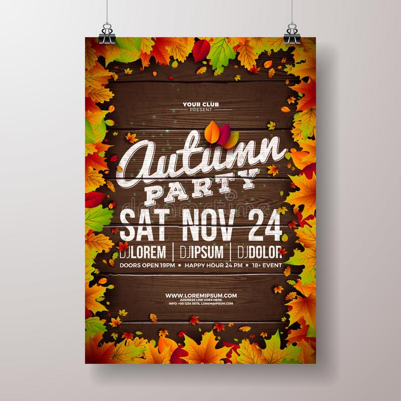 Jesieni ulotki Partyjna ilustracja z spada liśćmi i typografia projektem na rocznika drewna tle Wektor jesienny ilustracji