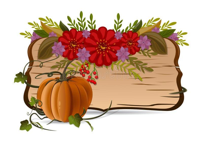 Jesieni wciąż życie z banią, kwiatami i rocznik drewnianą deską, ilustracji