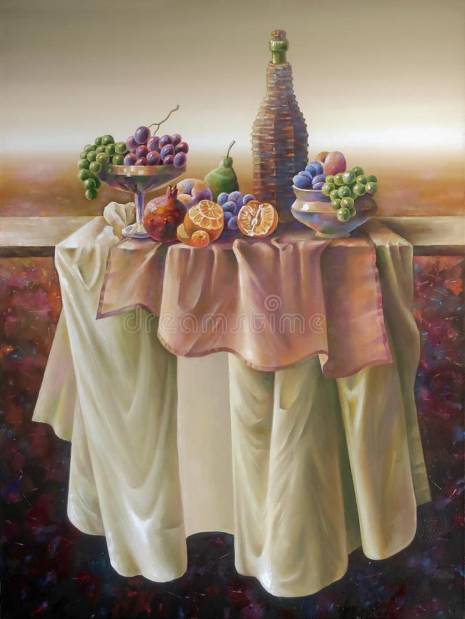 Jesieni wciąż życie z jagodami i owoc w polu ilustracji