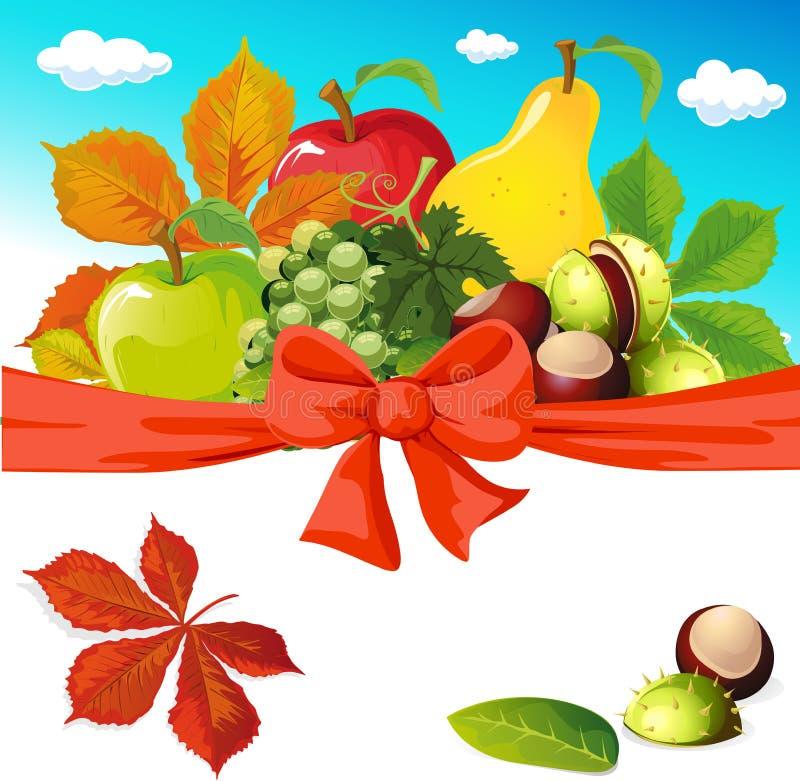 Jesieni wciąż życie z owoc, warzywami i kasztanami, ilustracji