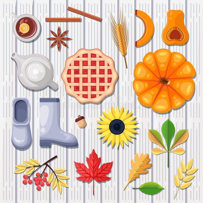 Jesieni wektorowe ikony i projektów elementy na białym drewnianym tle Spadku żniwo, jedzenie i liście ilustracyjni, royalty ilustracja