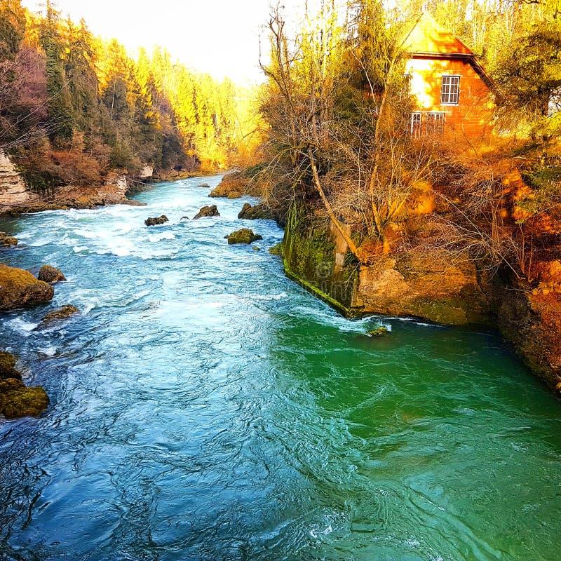 Jesieni wycieczka przy Traunfall obrazy stock