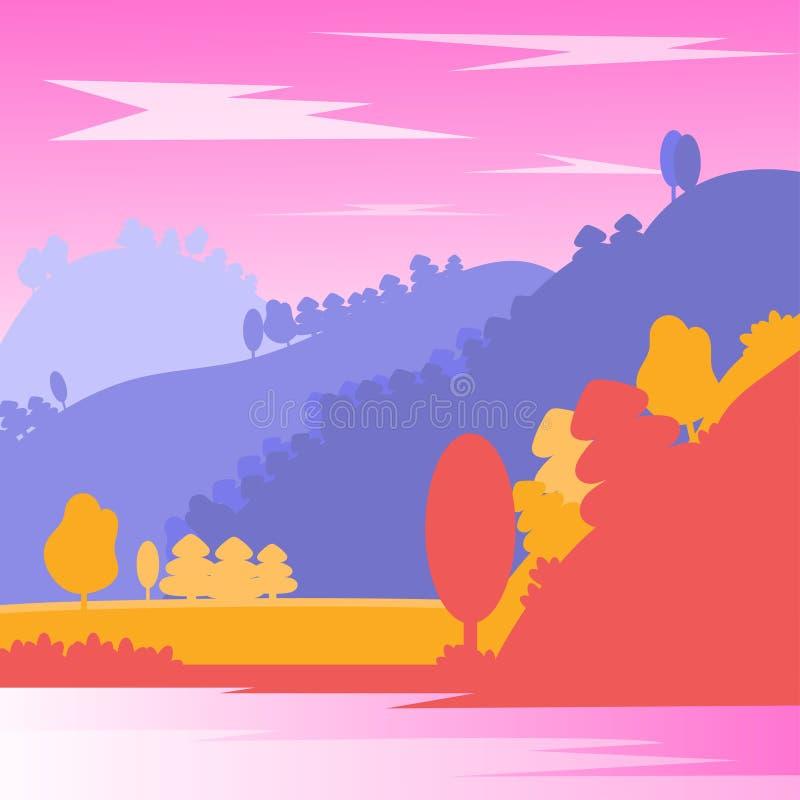 jesieni? zbli?enie kolor t?a ivy pomara?czow? czerwie? li?ci Krajobraz z rzeką, drzewami i górami, Wektorowa ilustracja z natur?  ilustracji