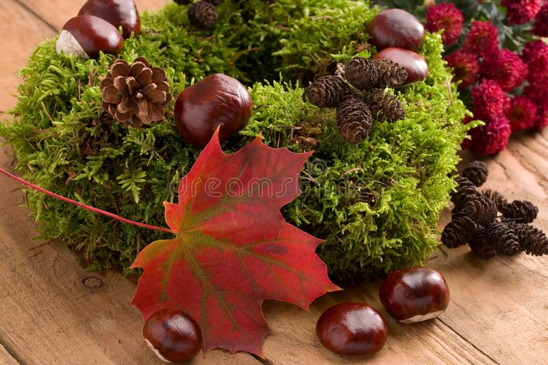 Jesienna dekoracja - mech wianek z kasztanami zdjęcie royalty free