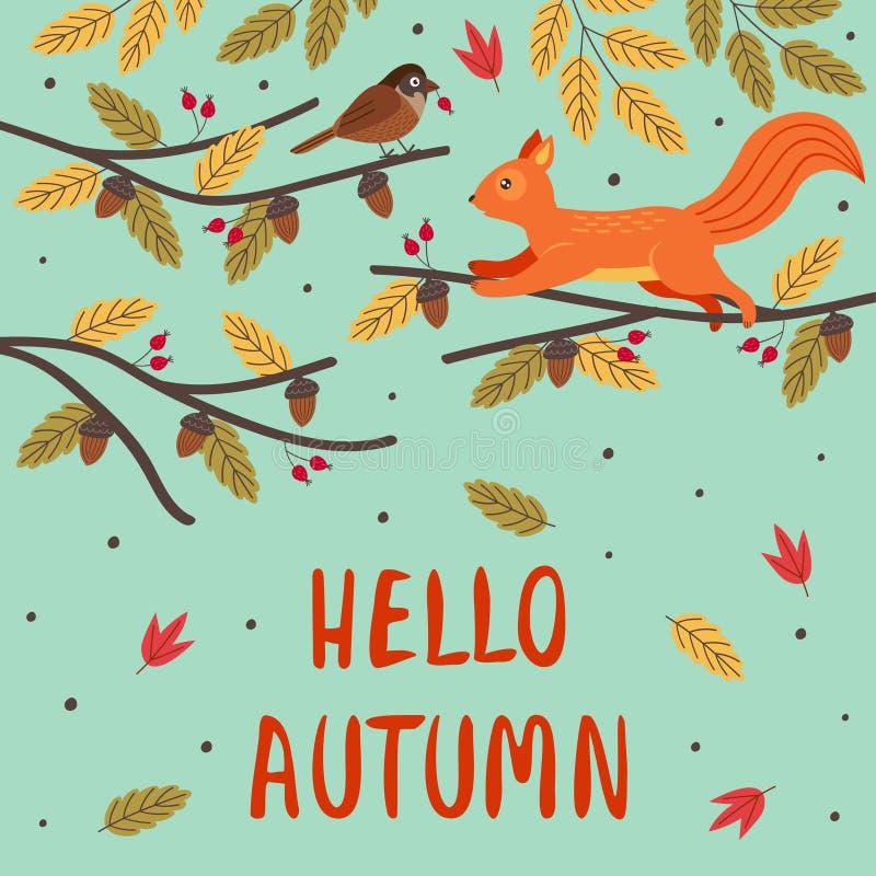 Jesienna kartka z wiewiórką i ptakiem na gałęzi ilustracji