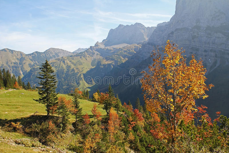 Jesienna karwendel dolina, widok pasmo górskie, austriacki lan obraz royalty free