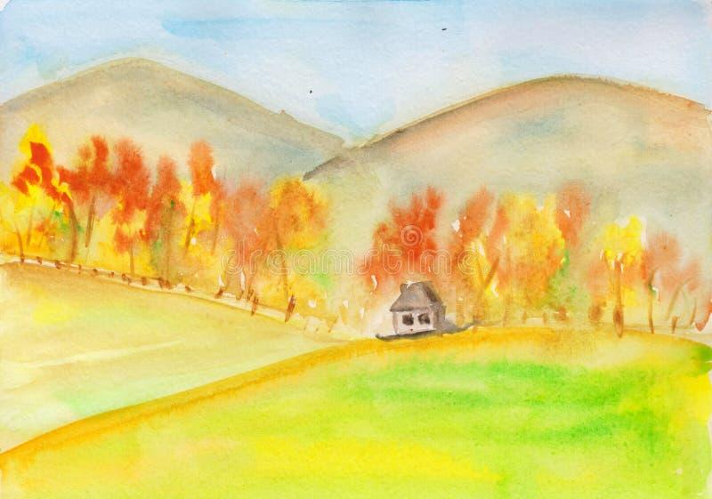 Jesienna krajobraz z górami, lasami i domem na polu. akwarelowa ilustracja odcisków, tapet, kart i ilustracja wektor