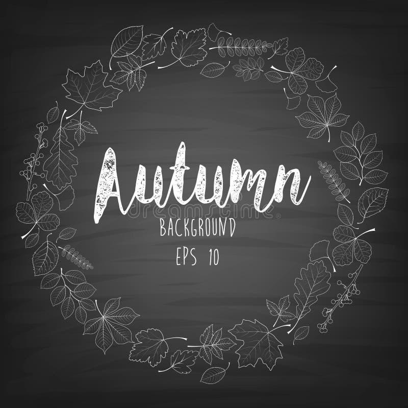 Jesienna round rama pisać z kredą na czarnym chalkboard ilustracji