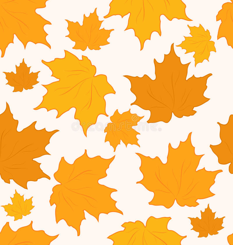 Jesienni liść klonowy, bezszwowy tło ilustracji