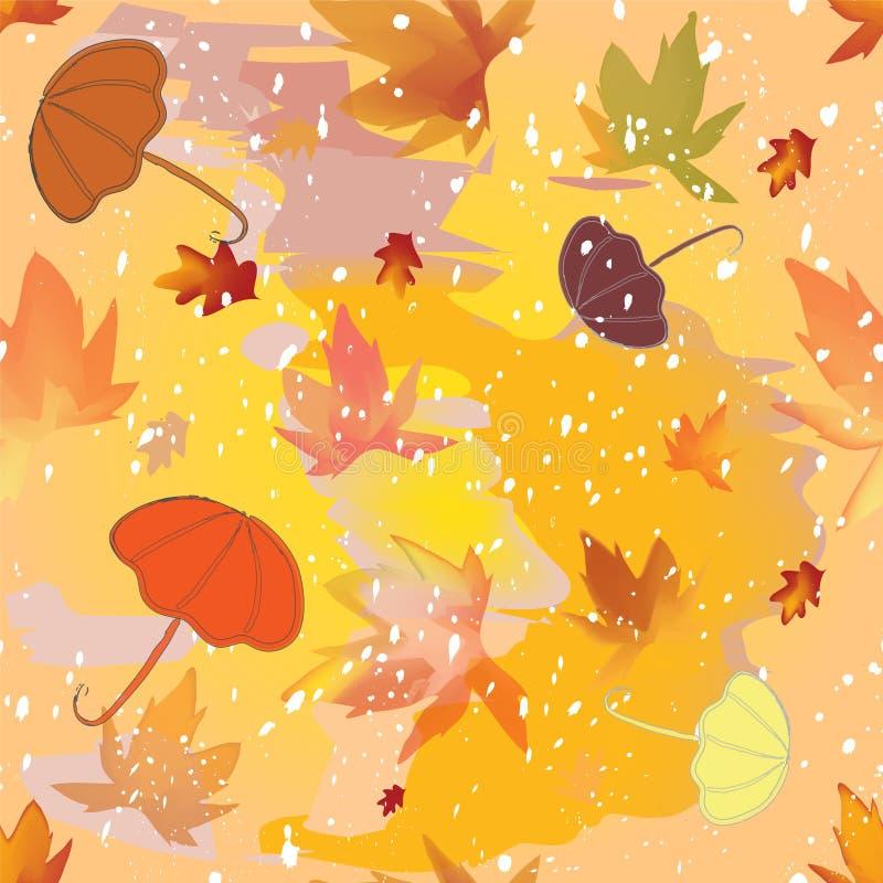 Jesienny bezszwowy wzór z parasolami, liście, sleet na grunge plamił tło royalty ilustracja