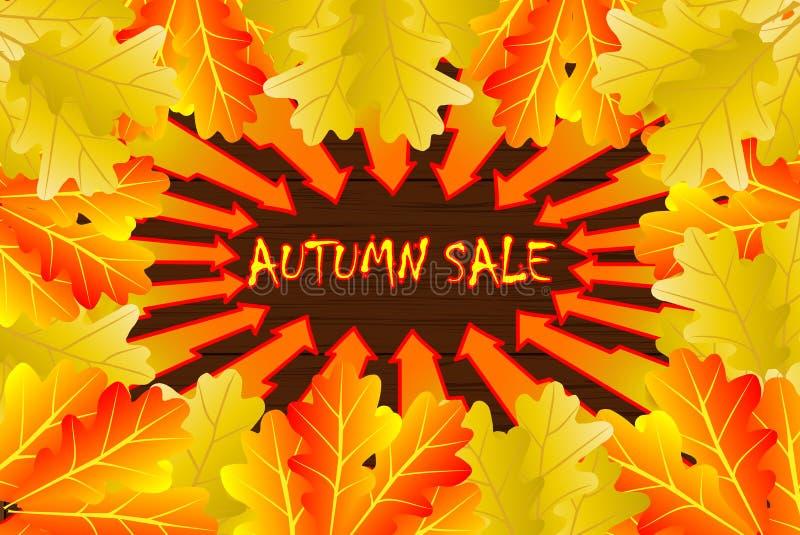Jesienny liść dąb ilustracja wektor