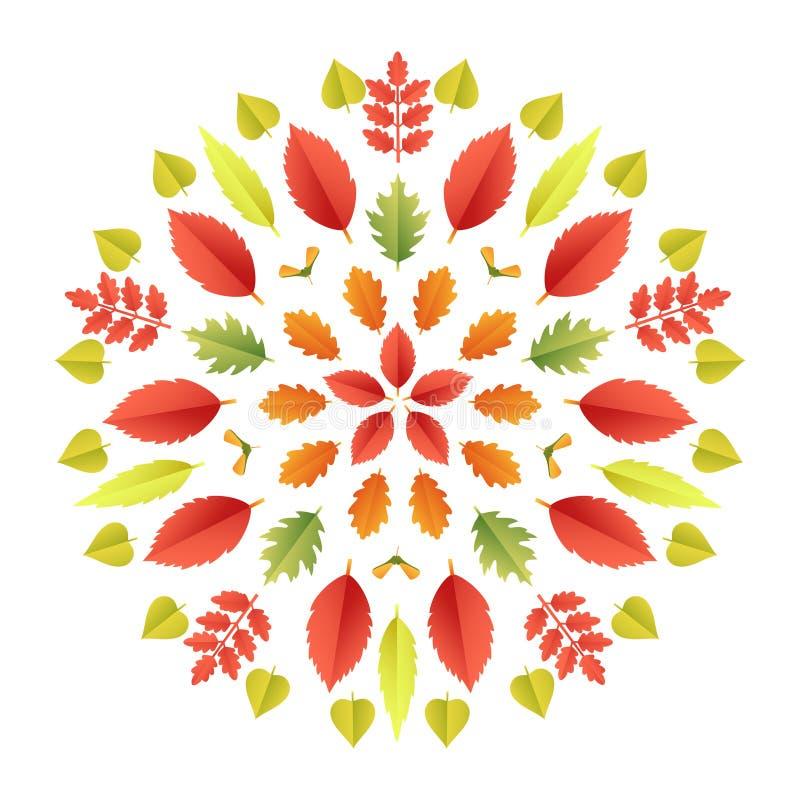 Jesienny mandala Spadków liści kolorowy kalejdoskop odizolowywający na białym tle Papieru 3d mieszkania rżnięty styl, wektor ilustracja wektor