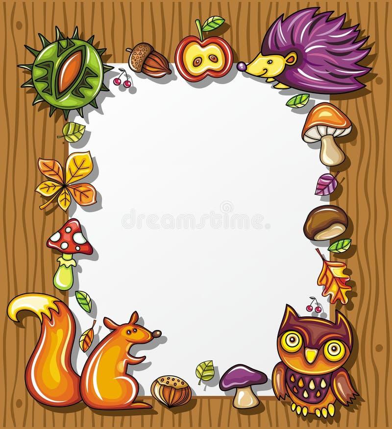 jesienny ramowy drewniany ilustracja wektor