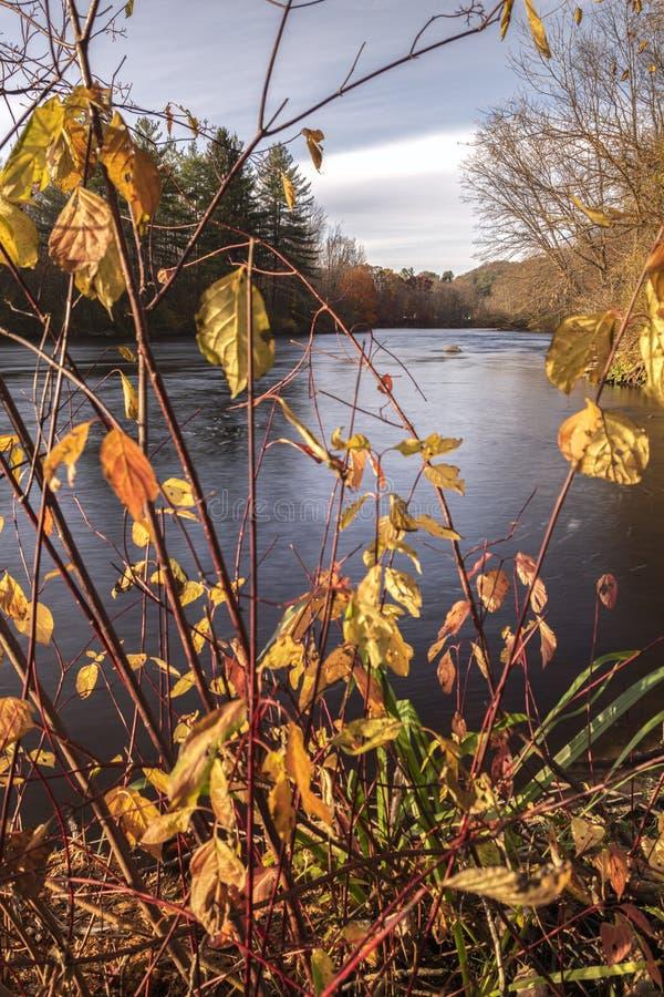 Jesienny widok pionowy podczas zachodu słońca na West Canada Creek, gdzie łączy się z błotem i Cincinnati Creeks, Barneveld, Nowy obraz royalty free