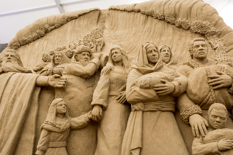 Jesolo lido, Italia : Sand Nativity 2016: wonderful sand scultures depicting the sacred family and the exodus of the bible. Jesolo lido, Italia: Sand Nativity royalty free stock image