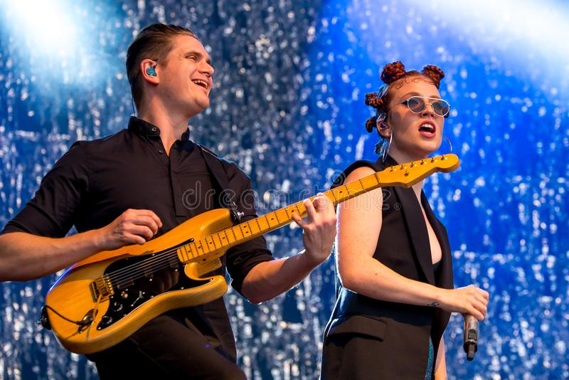 Jess Glynne English singer and songwriter performs in concert at FIB Festival royalty free stock photos