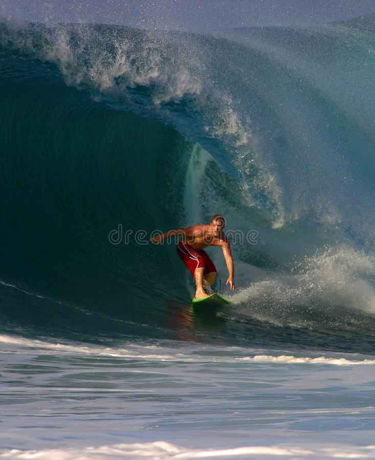 Jesse Merle Jones Surfing at Backdoor. Professional Surfer, Jesse Merle Jones surfing at Backdoor on the North Shore of Oahu, Hawaii stock photo
