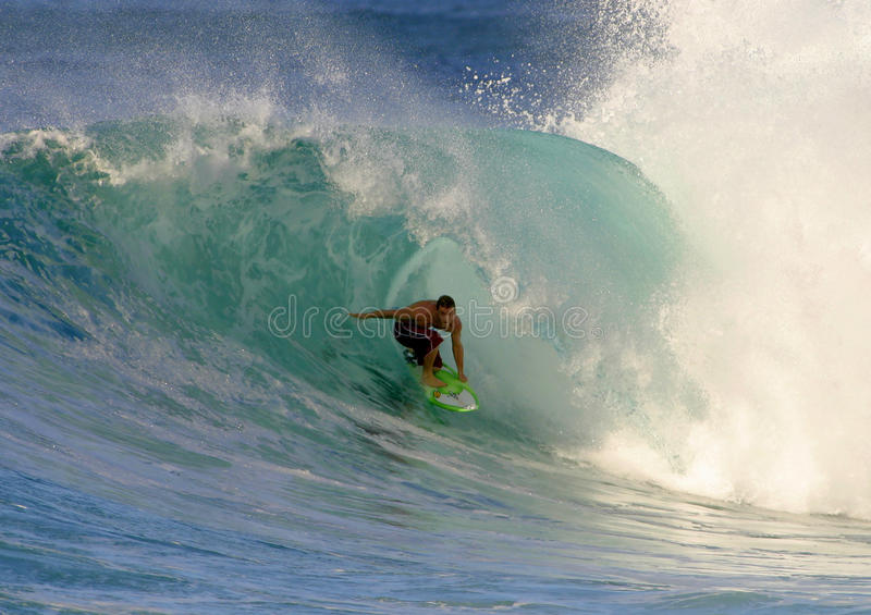 Jesse Merle Jones Surfing at Backdoor. Professional Surfer, Jesse Merle Jones surfing at Backdoor on the North Shore of Oahu, Hawaii stock images
