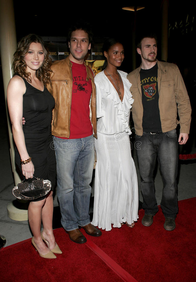 Jessica Biel, Dane Cook, Joy Bryant en Chris Evans stock fotografie