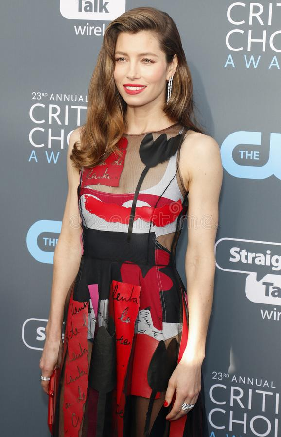 Jessica Biel. At the 23rd Annual Critics` Choice Awards held at the Barker Hangar in Santa Monica, USA on January 11, 2018 royalty free stock photography