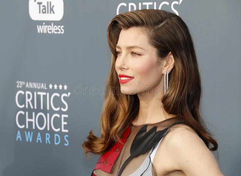 Jessica Biel. At the 23rd Annual Critics` Choice Awards held at the Barker Hangar in Santa Monica, USA on January 11, 2018 stock images