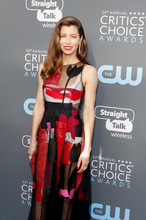 Jessica Biel. At the 23rd Annual Critics` Choice Awards held at the Barker Hangar in Santa Monica, USA on January 11, 2018 stock photo