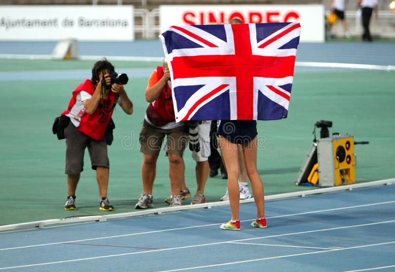 Jessica Judd from Great Britain celebrates silver