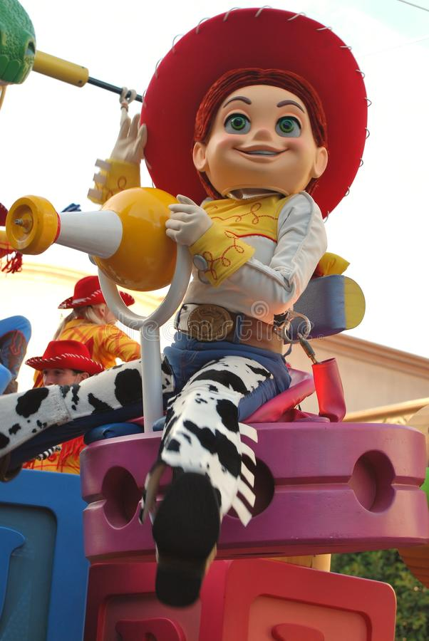Jessie from the Pixar movie Toy Story in a parade at Disneyland, California stock photography