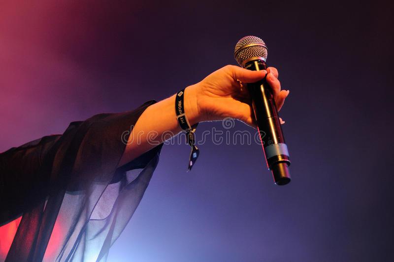 Jessie Ware rymmer hennes mikrofon på den Heineken Primavera ljudfestivalen 2013 royaltyfria foton
