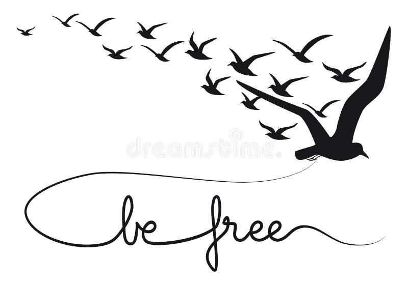 Jest bezpłatnego teksta latającymi ptakami, wektor ilustracja wektor