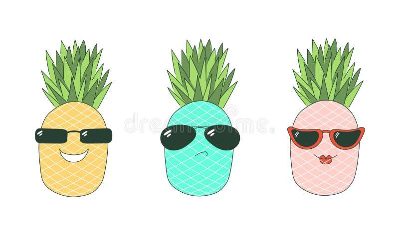 Jest chłodno majcherów ananasami ilustracja wektor